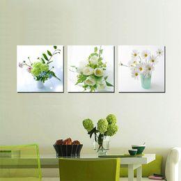 Bambou de peinture moderne en Ligne-3 pièces Peinture moderne Art Peinture sur toile Impressions fleur en pot Chrysanthème Grape Alcohol Caractères chinois en bambou Proverbe de poésie en lune