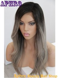 Wholesale Cheap Two Toned Wigs - Premium Two Tone Grey Human Hair Silk Top Glueless Full Lace Hair Wigs 130% Density Ombre Brazilian Hair Lace Front Gray Wigs For Cheap Sale