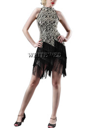 Wholesale Girls Sequin Dance Dresses - Wholesale-Women roaring 20s 1920S Art Deco Sequin Paisley Great Gatsby Flapper Dance Girl Tassel Glam Party Dress Costume Pattern Style