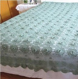 Wholesale Chinese Bedspreads - Wholesale- 100% Cotton Crocheted Coverlets Handmade Crochet Bedspread Bed Cover Good Qulity Blanket Bed Sheet
