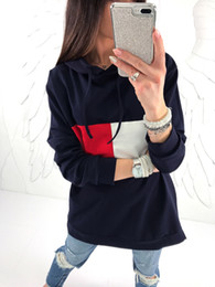 Wholesale loose fitting coats - 2017 New arrivals casual ladies red white patchwork blue gray women loose hoodies long sleeve slim fit jumper hoodies coat fall 171101