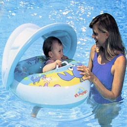 Wholesale Inflatable Toddler Swimming Pools - Inflatable Toddler Baby Swim Ring Float Seat Swimming Pool Water Seat with Shade Cover Sun Canopy