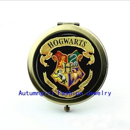 Wholesale Metal Antique Pocket Mirror - New Arrival Black Hogwarts Pocket Mirror Harry potter Antique Pocket Mirrors Brand Cosmetic Mirror --00365