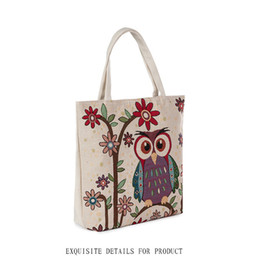 Wholesale Vintage Ship Painting - Japan style shopping bags new arrival high quality canvas material painting women handbag owl design shoulder bags free shipping
