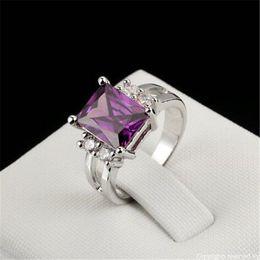 Wholesale Princess Cut Cz Rings - Platinum Plated Princess Cut Big Purple CZ Diamond Crystal Bijoux Fashion Ring Jewelry For Women As Promise Gift R495