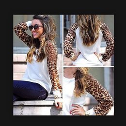 Wholesale Chiffon Shirt Outlet - eaby Europe and new large size women loose long-sleeved T-shirt splicing leopard chiffon blouse factory outlets