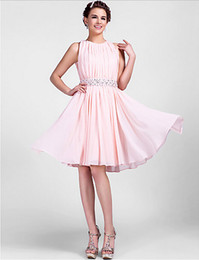 Wholesale Color Cocktail Knee Length Dresses - Pearl Pink Plus Sizes A-line Princess Jewel Knee-length Chiffon Homecoming Cocktail Party Homecoming Wedding Party Dress