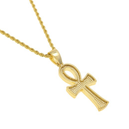 Wholesale Simulated Diamond Pendants - 2017 Retro Gold Cross Charm Pendant Full Ice Out CZ Simulated Diamonds Catholic Crucifix Pendant Necklace With Long Cuban Chain
