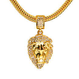 Wholesale Lion Head Chain Necklace - High quality 18K Gold Plated mens Hip hop Lion head Iced Out crystal Rhinestone necklace Rap Golden Pendant Lion kings snake Chain Necklace