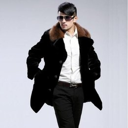 Wholesale Mink Fur Shorts - 2017 warm long sleeve short faux Mink rabbit fur coat mens leather jacket men coats Single-breasted Villus winter loose thermal outerwear