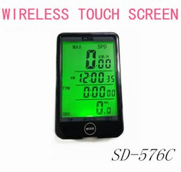 Wholesale Waterproof Stopwatch Backlight - Wholesale-Free Shipping Waterproof Touch Screen Wireless Bicycle Computer Bike Accessories Speedometer Backlight Stopwatch
