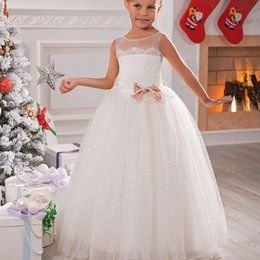 Wholesale Gown Dreses - Ball Gown Flower Girls Dresses Little Girls Christmas Dresses Sheer Crew Sparkle Girls Pageant Dreses Bow First Communion Dress