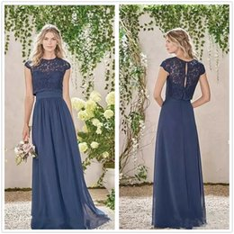 Wholesale Top Bridesmaid Dresses Two Color - 2018 Navy Blue Two Pieces Long Bridesmaid Dresses Lace Top Chiffon A Line Long Maid of Honor Wedding Guest Evening Dresses