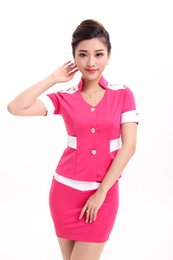 Wholesale Sexy Career Clothing - 8268 # new sexy stewardess dress lady beautician career suits clothes clothing clothing sauna technician uniforms KTV