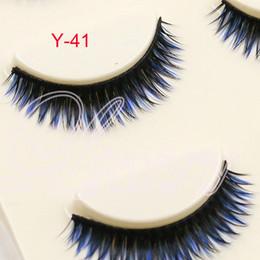 Wholesale Hair Color Pack - Y-41 3pair pack mixed Colors Eyelashes Lady Natural Soft Black Fake Eye Lashes Handmade Thick Fake False Eyelashes blue Color Makeup Tools