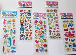 Wholesale Reward Stickers - marine animal and tropical fish stickers for kids children stickers toy sea life funny puffy stickers kids rewards school