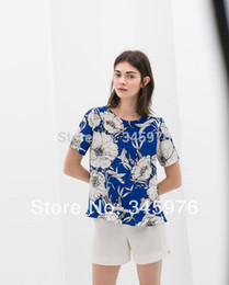 Wholesale Vintage Ruffled White Blouse - Wholesale-2015 summer new design women high street blue white floral printed chiffon shirt vintage women cozy short sleeve ruffles blouse