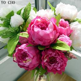 piantare peonia Sconti Yo Cho Autumn Decor Casa Decorazione di nozze Mariage Rose Fai da te 7 Fiori di peonia Bouquet Fiori finti Peonia Piante da fiori artificiali