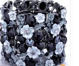 Wholesale Cuff Bracelet Swarovski - Vintage black swarovski crystal flower bracelet
