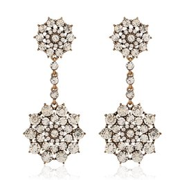 Wholesale Cheap Diamond Shaped Earrings - Colorful Diamond Earrings For Girls 2015 New Desgin Wedding Accessories Cheap Hoop Earrings For Party Flower Shape Gifts For Her 9763