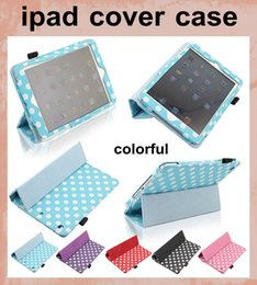 Wholesale Ipad Mini Case Dots - Smart Cover for Ipad 2 3 4 5 ipad air ipad Mini retina Magnetic Case 9.7 inch Tablet Fold Polka Dots Leather Wallet Case Cover dhl PCC048