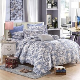 Wholesale Cheap Queen Comforter Covers - Wholesale-Cheap Blue Floral Duvet Cover Soft Cotton Comforters Sweet Printed Home Bedding Set Twin Queen King Wholesale
