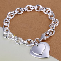Wholesale Sterling Silver Heart Lobster Clasps - 925 sterling silver Double heart Lobster clasp bracelets Chain charm bracelet with heart 8 inches 10pcs