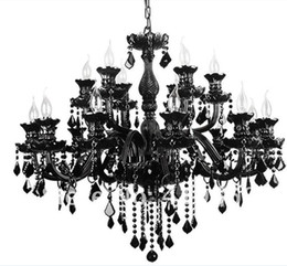 Wholesale Modern Italian Living Rooms - black Crystal Chandeliers at factory direct price black color Custom Chandeliers Italian Murano style chandeliers classic candle chandelier