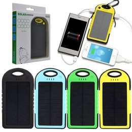 Wholesale Galaxy Tablet Battery - Solar Charger Portable Power Bank 5000mAh External Battery Pack For Cellphone iPhone 6S 4S 5S iPad iPod Tablet Samsung Galaxy S5 S6 MP3