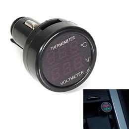 Wholesale Digital Thermometer Gauge - 2 In 1 Car 12V Red Green Dual Display LED Dual Digital Thermometer Voltmeter Voltage Gauge Black