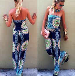 Wholesale Sexy Strapless Jumpsuit - Free Shipping Boho Sexy Strapless Playsuits Party Summer Ladies Casual Jumpsuit Shorts women jumpsuits print jump suit 2016