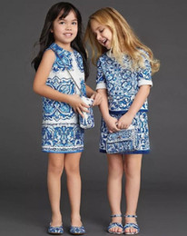 Wholesale China Tutu - New Spring Luxury Big Girls Princess Dress Jacquard Dress China Blue Art Sleeveless Cotton Dress Children Clothing Kids Vest Dresses 10816