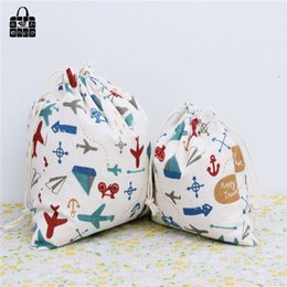 Wholesale Wholesale Linen Rolls - Wholesale- War plane design cotton linen fabric bag Clothes socks underwear shoes dust receive cloth bag home Sundry kids toy storage bags