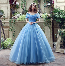 Wholesale Dresses For Sweet 16 - Perfect Cinderella Quinceanera Dresses Blue Off Shoulder Organza Debutante Sweet 16 Girls Masquerade Ball Gowns For Teens With Butterfly