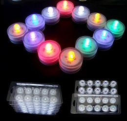 Wholesale Led Battery Flicker Candles - Underwater Flickering Flicker Flameless LED Tealight Tea Waterproof Candles Light Battery Operated Wedding Birthday Party Xmas Decoration