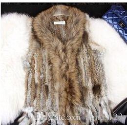 Wholesale Raccoon Fur Vest Women - Fur Vest Raccoon Fur Trimming Tassels Women Fur Natural Waistcoat Lady Gilet colete pele new arrive free shipi