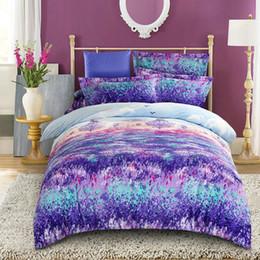 Wholesale queen flannel duvet cover - Wholesale- Beautiful fashion purple lavender flower velvet flannel fabric bedding set queen king size duvet cover printed soft thick warm
