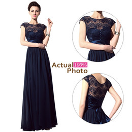 Wholesale Stock Mothers Dresses - In Stock 2015 Navy Blue Lace Bridesmaid Dresses Cheap Sheer Neck Sash Short Sleeve Vintage Evening Gowns Prom Mother of the Bride Dresses