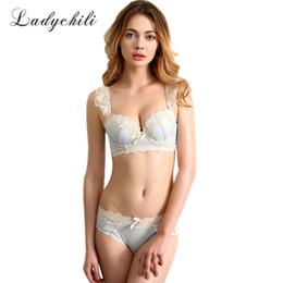 Wholesale sexy bra panty sets padded - Women Shoulder Strips Lace Embroidery Sexy Bra Set Pad Foam Push Up Gathering Bra and Panty Set Bow Application Underwear N153