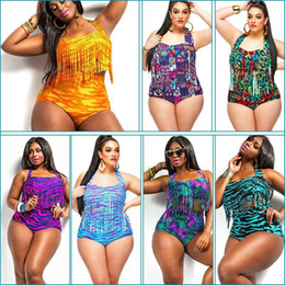 Wholesale Woman Fat Suits - Plus Size Print Fringe High Waist Swimsuit Tassels Bathing Suit Swimwear Push Up Bikini For Fat Women