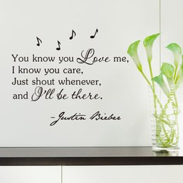 Wholesale inspirational vinyl wall decals - Inspirational Quotes Wall Sticker You know you Love me, I know you care -Justin Bieber Vinyl wall art home decor decal sticker
