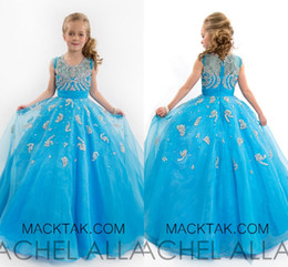 Wholesale Stunning Pageant Dresses - F186 Crystals Sheer Neck Ball Gown Organza Flower Girl Dresses Luxurious Pageant Girl Dresses Stunning Dresses For Pageant