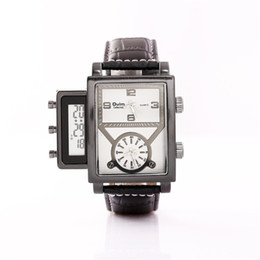 Wholesale Analogue Watches - Oulm 3580 Stainless Steel Quartz Movement Watch Cool Oversized Men Two Analogue Clocks With Digital Display WristWatch