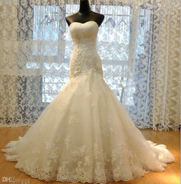 Wholesale New Sexy Sweetheart Lace Stunning - New Arrival Hot Sale Real Made Princess Lace Mermaid Wedding Dresses 2015 Appliques W1421 Long Bridal Gowns Modern Best Quality Stunning Top