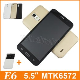 """Wholesale Radio Leather - S6 3G Smart Phone 5.5"""" Dual Core MTK6572 Android 4.4 4GB Dual Sim Unlocked 960*540 Camera E6 mobile Gesture gold with leather Case 20pcs"""