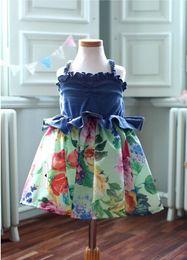 Wholesale Knee Length Sleeveless Denim Dress - 2015 summer girls clothes girl dress floral denim suspenders clothes floral sleeveless dress DHL free shipping
