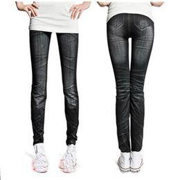 Leggings gotas online-Stonewash Denim Skinny Leggings Estirables Pantalones lápiz Faux Jeans CY0290 envío de la gota envío gratis