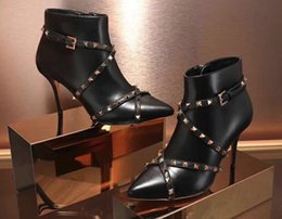 Wholesale Black Stud Ankle Boots - AAAAA Womens Studwrap Bootie Spike Heel Studs Leather Sole 100% Genuine Leather Solid Color Size 35-40 with Box dust bag reciept