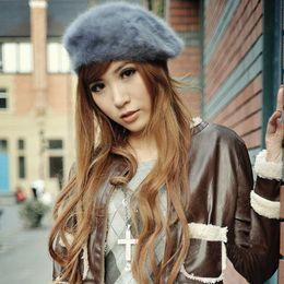 Wholesale Womens Beige Beanie - Hot Autumn Winter Wear Womens Warm Trapper Hat Ribbit Faux Fur Thick Hats Lady's Beanie Wool Caps
