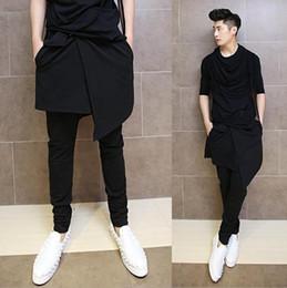 Wholesale Korean Dance Trousers - Wholesale-Korean Hip Hop Fashion Dance Pants For Men Black Drop Crotch Skirt Skinny Harem Pants Trousers Nightclub Performance AY953
